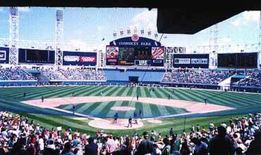 View of Baseball Game at Comiskey Park in Chicago